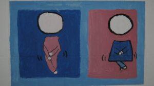 rysunek przedstawiający dziewczynkę i chłopca wstrzymujących pójście do toalety